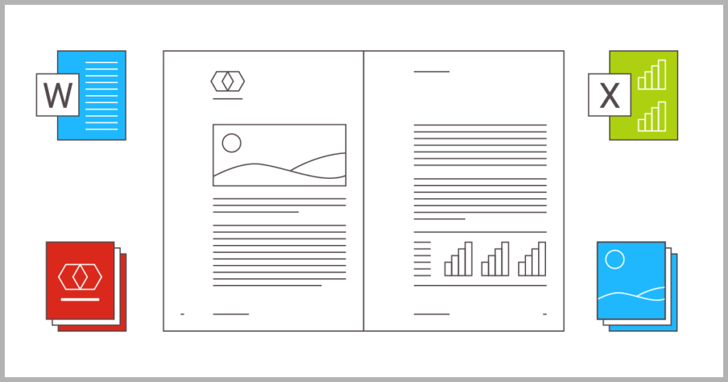 Text, graphs, logos and images laid out on document pages