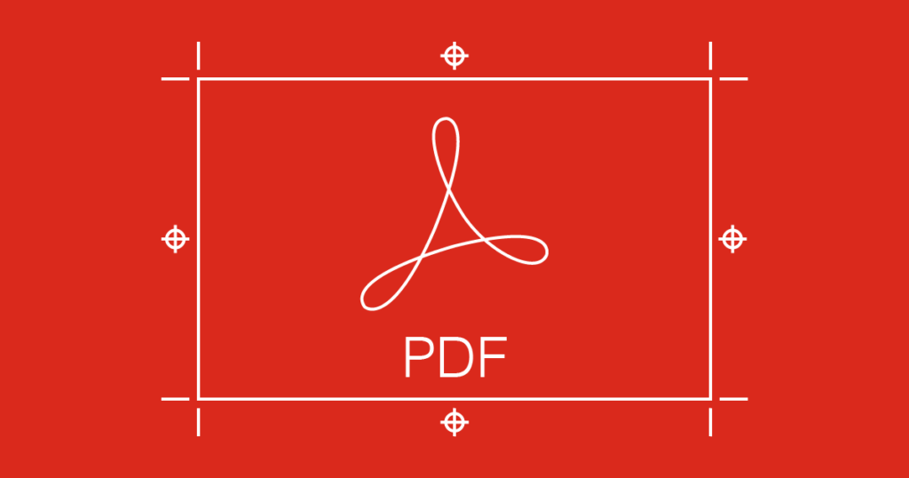 Graphic representing PDF artwork showing printer's marks outside the page area